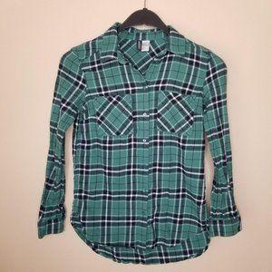 H&M Divided Women Green Button-Down Shirt 2